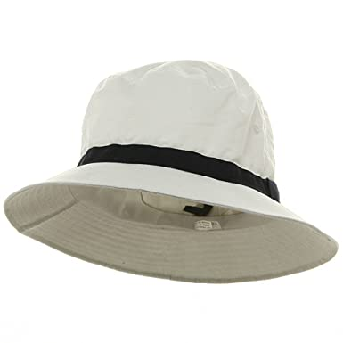 8404736f756 Oversized Water Repellent Brushed Golf Hat - White Navy (For Big ...