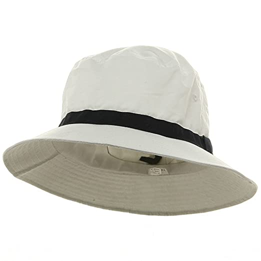 Oversized Water Repellent Brushed Golf Hat - White Navy (For Big ... 189e98c827d