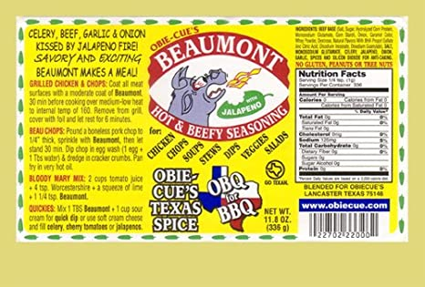 Condimento Obie-Cue Beaumont - 334g (11.8 oz): Amazon.es: Alimentación y bebidas