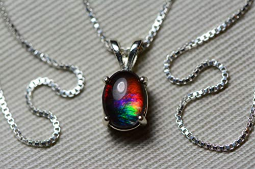 Ammolite Necklace, Sterling Silver, 8x6mm Pendant, Alberta Canada Gem Jewelry, Wood Gift Box, Real Natural Genuine Ammolite Jewellery T5