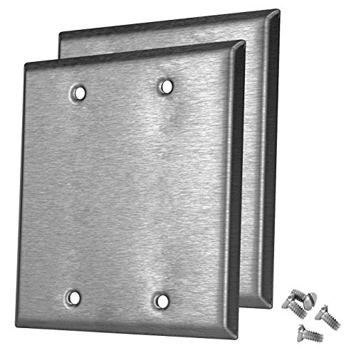 (Pack of 2 Wall Plate Outlet Switch Covers by SleekLighting | Decorative Stainless Steel Look | Variety of Styles: Decorator/Duplex/Toggle/Blank / & Combo | Size: 2 Gang Blank)