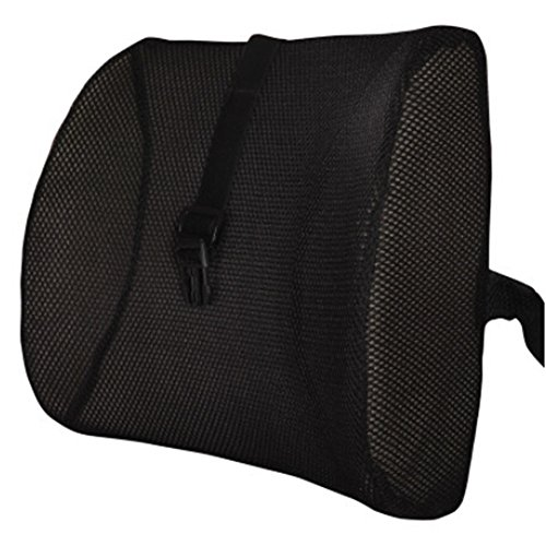 Moyishi Fashion Black High Resilient Memory Foam Seat Back Lumbar Cushion Support Pillow Car Office Chair Back Support (Sacral Support Pillow Lumbar)