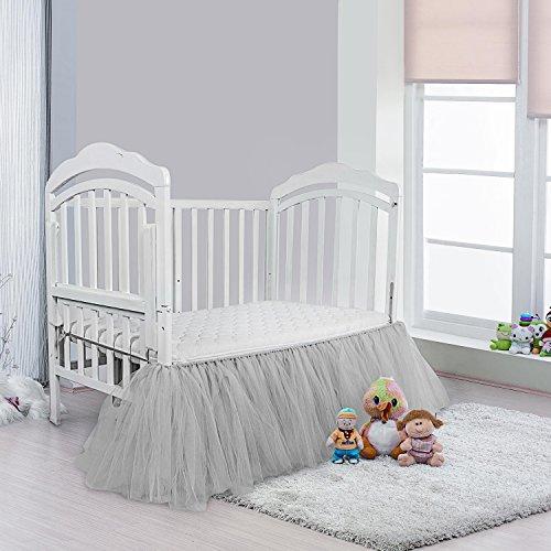 Infant Crib Skirt - Grey Crib Skirt Baby Ruffle Baby Bed Skirt Portable Tulle Tutu Crib Skirt Handmade for Boys Or Girls Birthday Party,Baby Shower &Baby Room Decoration,16
