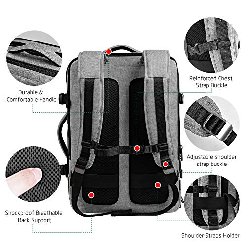 Amazon.com: Cai Carry On Backpack Large Capacity TSA Approved Travel Backpack, Light Grey, 15 Inch Laptop: Caibags
