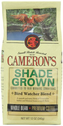 CAMERON'S Organic Whole Bean Coffee, Bird Watcher's Blend, 12-Ounce