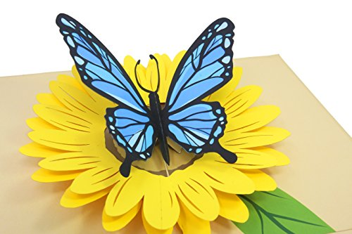 (PopLife Blue Butterfly on Yellow Sunflower 3D Pop Up Mother's Day Card - Anniversary Pop Up for Mom, Happy Birthday - Cute Gift for Her - Folds Flat - for Sister, for Daughter, for Wife, for Grandma)