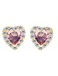 Heart Pink Tourmaline With White Cubic Zirconia Stud Earring In 14K Gold Over Sterling Silver