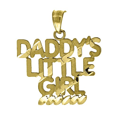 10kt Gold DC Womans Daddy's Little Girl Ht:23mm x W:19.6mm Letters & Words Charm Pendant