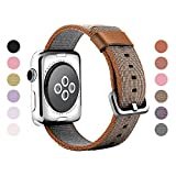 Gonyou Nylon Watch Band Woven Replacement Strap with Classic Square Metal Buckle for Apple Watch iWatch Series 1 / 2 Sport & Edition (Nylon Brown Stripe42)