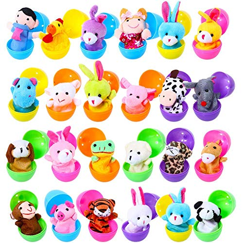 FunsLane 24pcs Easter Eggs Filled with Finger Puppets for Toddlers, 2.36 Inches Bright Colorful Plastic Easter Eggs for Kids Pinata Toys, Party Game Prizes, Goodie Bag Fillers ()