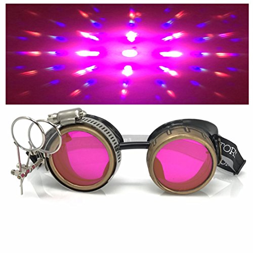Compass Gear - Steampunk Victorian Style Goggles with Compass Design, UV Glow in The Dark Neon Pink Rave Diffraction Glasses Prism Lenses