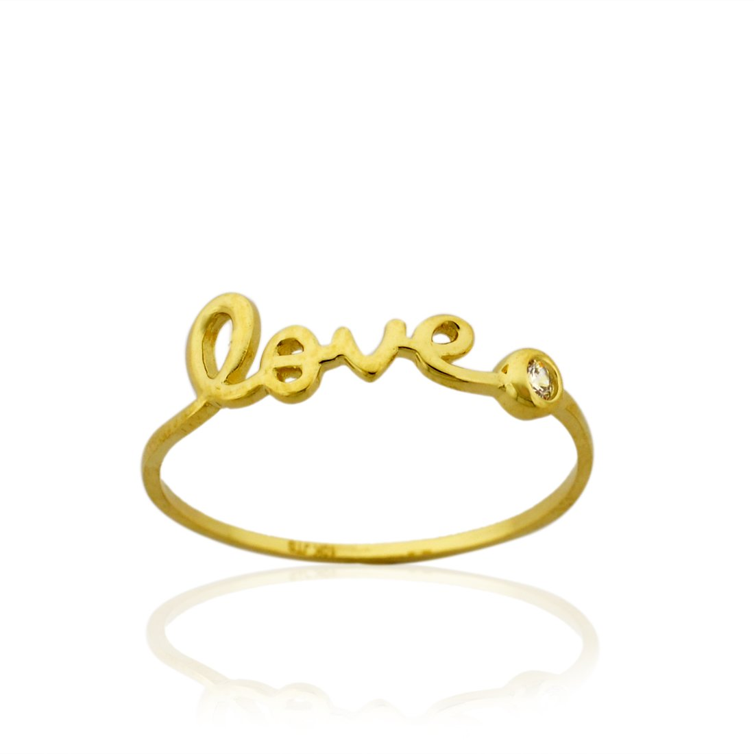10K Gold ''LOVE'' Ring with Bezel 0.03 cttw Cubic Zirconia ,Size8 by AVORA
