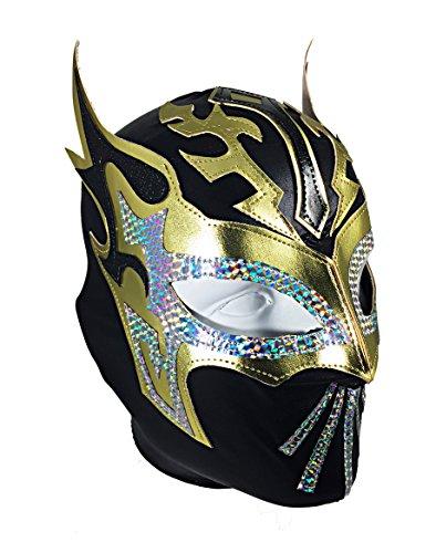 SIN CARA Lycra PRO Adult Lucha Libre Wrestling Mask Black/Gold