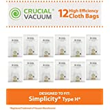 12 Simplicity Type H Vacuum Bags for Simplicity S18, S20, S24, S36, S38 Series Vacuums; Compare to Simplicity Part No. SHH-6; Designed & Engineered by Crucial Vacuum