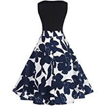 IEason Women Dresses Women Floral Elegant Sleeveless Vintage Tea Hepburn Dress Ball Gown