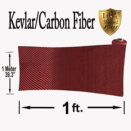 KEVLAR CARBON FIBER FABRIC-TWILL WEAVE-3K/200g (1 Ft x 1Mtr) - Red Carbon Fibre