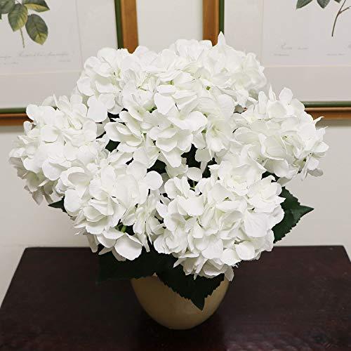 White Hydrangea Silk Flowers Plant | Artificial Hydrangeas Shrub with 7 Large Gorgeous Mophead Bloom Clusters, Leaves, Stems | Home Decor, Wedding, Event Centerpiece, Bouquets, Garden Bush
