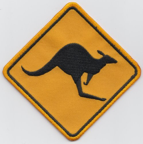 Australia Australian Flag Kangaroo Road Sign Embroidered Patch Badge (Kangaroo Road Sign)