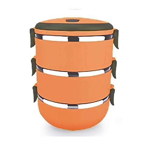 Fantiff Redondo Fiambrera termal, envase aislado apilable del almuerzo del acero inoxidable con el bolso portátil del almuerzo, capacidad grande