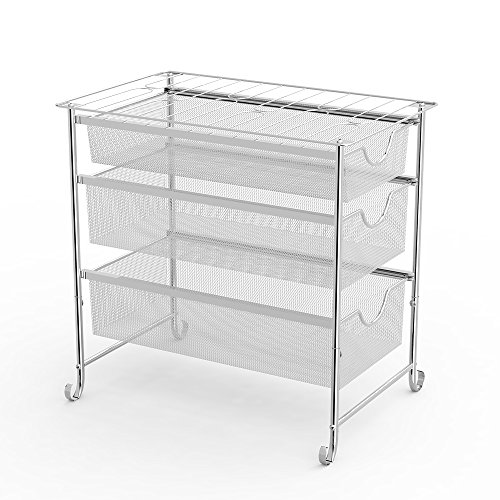 (NEX 3 Tier Under Sink Organizer, Three Mesh Sliding Baskets Drawers)