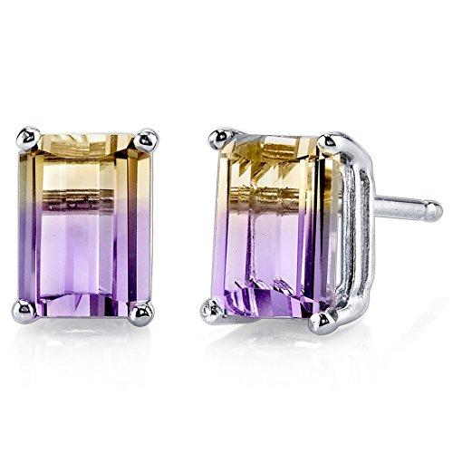 - 14 Karat White Gold Emerald Cut 2.00 Carats Ametrine Stud Earrings