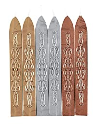 Flexible Sealing Wax with wick-Gold-Silver-Copper-6 sticks assorted