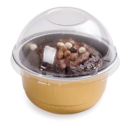 Premium 5-OZ Baking Cups with Lids – Round Foil Baking Cups & Lids Perfect for Fancy Desserts, Appetizers, or Mini Snacks – Gold Cup with Clear Lid – Oven & Freezer Safe – Recyclable – 100-CT by Restaurantware