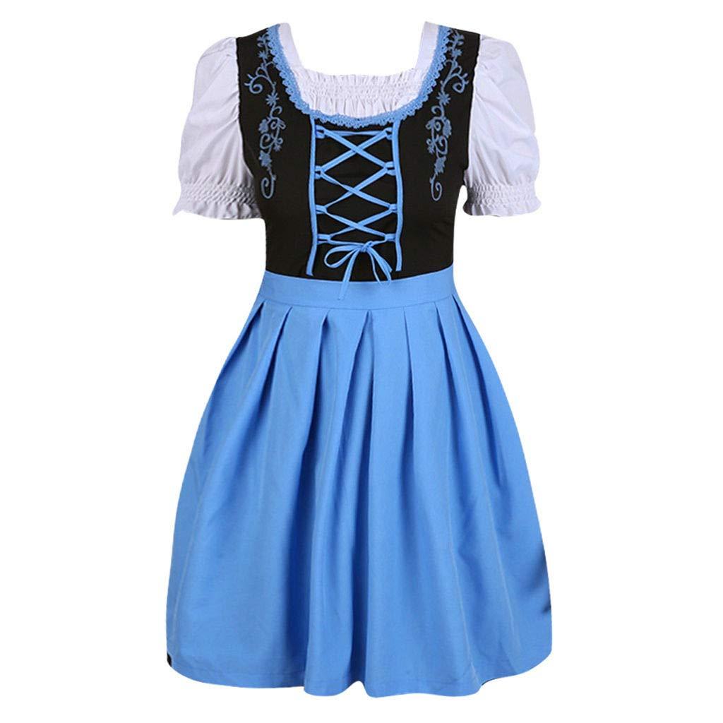 Women Oktoberfest Costume Girl Bavarian German Dirndl Maiden Dress Carnival Halloween Cosplay Party Waitress Clothes (XL, Blue) by miqiqism