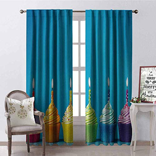 Price comparison product image Gloria Johnson Birthday Wear-Resistant Color Curtain Cupcakes in Rainbow Colors with Candles Fun Homemade Party Food Sweet Delicious Waterproof Fabric W52 x L63 Inch Multicolor