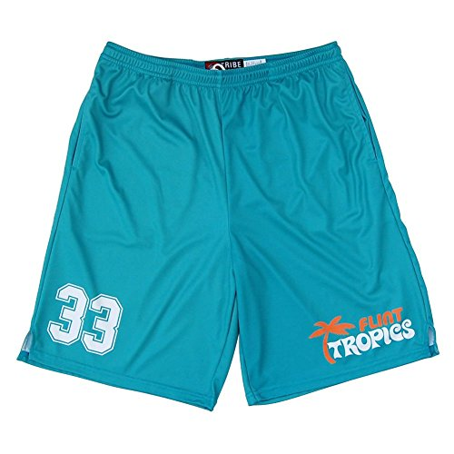 Jackie Moon Halloween Costume (Flint Tropics #33 Lacrosse Shorts, Blue,)