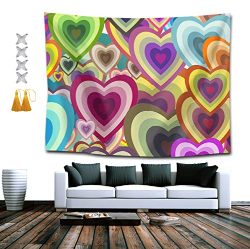 SUNH0ME Colorful Hearts Tapestry Hippie Art Tapestry Wall Hanging Home Decor Extra Large tablecloths 50x60 inches for Bedroom Living Room Dorm Room