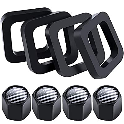 Frienda 4 Pieces 2 Inch Hitch Receiver Silencer Pads and 4 Pieces American Flag Valve Stem Caps, Pads for Adjustable Ball Mounts Provide Cushion Between Receivers and Tow Hitches: Automotive