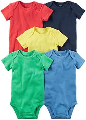 Carters Baby Boys 5 Pack Bodysuits (Baby) Bright Solid, 12 Months