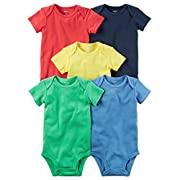 Carter's Baby Boys' 5 Pack Bodysuits (Baby) Bright Solid, 6 Months