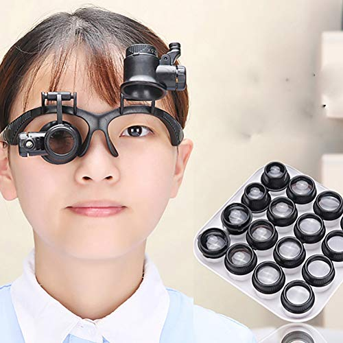 Magnifier, Maserfaliw 2.5X 4X 6X 8X 10X 15X 20X 25X LED Glasses Magnifier Magnifying Repair Loupe, Holiday Gifts, Home Essential Tools Supplies.