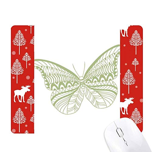 Green Butterfly Kite Christmas Woods Forest Deer Elk Mouse Pad