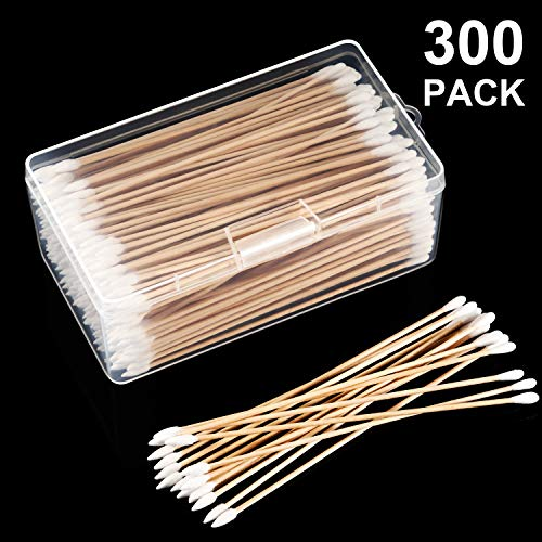 Norme 6 Inch Caliber Cotton Cleaning Swabs Single Round Tip with Wooden Handle Cleaning Swabs for Jewelry Ceramics Electronics in Storage Case (Pointed and Round Tip, 300 Pieces)