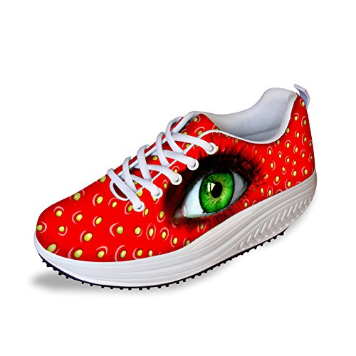 FOR U DESIGNS Creative Eye Leopard Print Womens Wedges Platform Fitness Shoes Red Eye VhwZzuhbdU