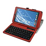 "Insignia NS-P08A7100 Bluetooth Keyboard Case,Mama Mouth Slim Stand PU Leather Case Cover With Romovable Bluetooth Keyboard For 8"" Insignia Flex NS-P08A7100 Andriod 6.0 Tablet 2016,Red"