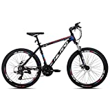 Hiland Mountain Bike 26 Inch Aluminum MTB Bicycle for Men Women Adult Teenager Boys Kids with 18 Inch Frame Kickstand Disc Brake Suspension Fork CST Urban Commuter City Bicycle Black Red