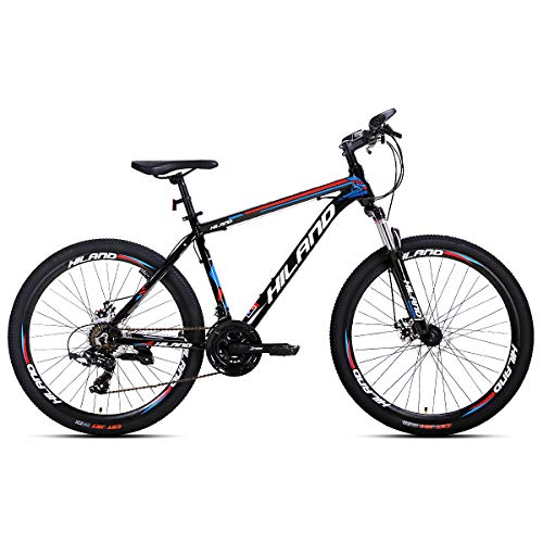 Hiland 26 Inch Mountain Bike Aluminum MTB Bicycle with 16.5 Inch Frame Kickstand Disc-Brake Suspension Fork Cycling Urban Commuter City Bicycle Black