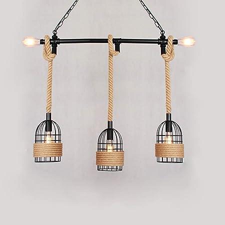 Lámpara de techo de jaula de pájaros de cuerda de cáñamo Lámpara ...