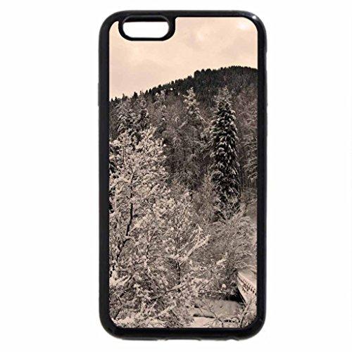 iPhone 6S / iPhone 6 Case (Black) bridge in a winter scene in monochrome