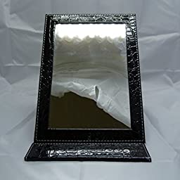 Folding Mirror PU Leather Tabletop Makeup Mirrors Large Size (Black)