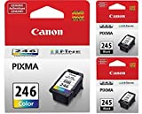 Genuine Canon PG-245 Black Ink Cartridge - 2 Pieces (8279B001) + Canon CL-246 Color Ink Cartridge (8281B001)