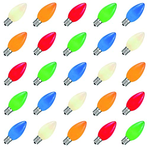 (Bulbstring - 25 Pack - 5 Watt C7 Colored Dimmable Outdoor String Light Bulbs - Ceramic Christmas Incandescent Replacement Multi Color Bulb C7/E12 Candelabra Base - Assorted Color)