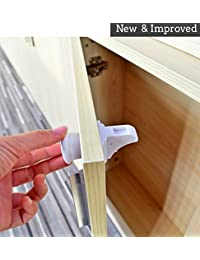Baby Safety Locks - No Drilling Required - Quick and Easy Installation - Child Safety Product For Drawers and Cabinets - Baby Protection Against Harmful Household Products [4 Locks +1 Key] BOBEBE Online Baby Store From New York to Miami and Los Angeles
