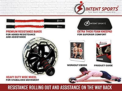Multi Functional Ab Roller Wheel KIT with Resistance Bands, Kneepad, Guide, Workout Ebook. Abdominal Workout Wheel Roller with Large Double Wheels for Stability. Multi-Directional Ab Core Workout. from INTENT SPORTS