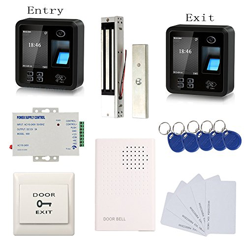 Biometric Fingerprint & RFID Access Control System Track Both Entry and Exit 600lbs Magnetic Lock 110V Power Unit RFID Keychains/Cards Push to Exit Button & Doorbell by MENGQI-CONTROL
