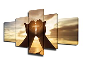 Jesus Hands Resurrected Paintings House Decorations Living Room Catholic Pictures 5 Piece Canvas Wall Art Modern Artwork Home Decor Wooden Framed Gallery-wrapped Stretched Ready to Hang(50''Wx24''H)